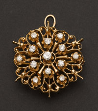 Brooch 14k Yellow Gold With Diamonds