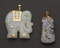 Estate Jewelry:Pendants and Lockets, Two Jade Pendants. ... (Total: 2 Items)