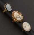 Estate Jewelry:Rings, Three Gold Cameo Rings. ... (Total: 3 Items)