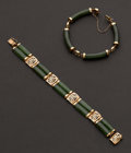 Estate Jewelry:Bracelets, Two Gold & Jade Bracelets. ... (Total: 2 Items)