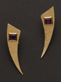Estate Jewelry:Earrings, Gold & Amethyst Earrings. ...