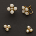 Estate Jewelry:Earrings, Opal & Pearl Earrings. ... (Total: 2 Items)
