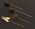 Estate Jewelry:Stick Pins and Hat Pins, Four Unique Gold Stick Pins. ... (Total: 4 Items)