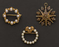 Estate Jewelry:Brooches - Pins, Three Gold & Pearl Pins. ... (Total: 3 Items)