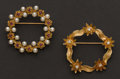 Estate Jewelry:Brooches - Pins, Two Gold Pins. ...