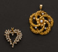 Estate Jewelry:Pendants and Lockets, Two Diamond Pendants. ... (Total: 2 Items)