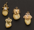 Estate Jewelry:Other , Four Gold Topped Elks Tooth Fobs. ...