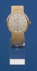 Timepieces:Wristwatch, Universal Geneve Polerouter 14k Gold Automatic Wristwatch With 14kBand. ...