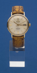 Timepieces:Wristwatch, Omega 14k Gold Seamaster Wristwatch. ...