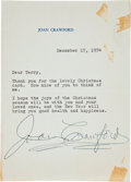 Movie/TV Memorabilia:Autographs and Signed Items, Joan Crawford Signed Letter....