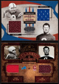 Football Cards:Singles (1970-Now), 2004 Donruss & 2005 Leaf Jim Thorpe Swatch Card Pair (2). ...