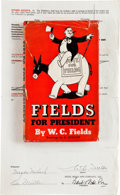 Movie/TV Memorabilia:Autographs and Signed Items, W.C. Fields Signed Contract Plus Book.... (Total: 2 Items)