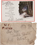 Movie/TV Memorabilia:Autographs and Signed Items, W.C. Fields Signed Christmas Card.... (Total: 3 Items)
