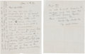 Movie/TV Memorabilia:Autographs and Signed Items, W.C. Fields Handwritten Letter....