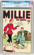 "Golden Age (1938-1955):Romance, Millie the Model #16 Davis Crippen (""D"" Copy) pedigree(Atlas/Marvel, 1949) CGC VF+ 8.5 Off-white to white pages...."
