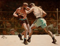 Mainstream Illustration, ALBIN HENNING (American , 1886-1943). Madison Square Garden, TheMain Event, 1931. Oil on canvas. 23.5 x 30.5 in.. Signe...