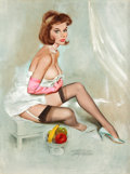 Pin-up and Glamour Art, FRITZ WILLIS (American, 1907-1979). Redhead in Pink Gloves,Brown & Bigelow Calendar Pin-Up, September 1966. Oil oncanv...