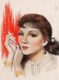Pin-up and Glamour Art, CHARLES GATES SHELDON (American, 1889-1960). ClaudetteColbert. Pastel on board. 15 x 11 in.. Signed center right.F...