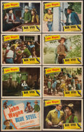 "Movie Posters:Western, Blue Steel (Lone Star, R-1940). Lobby Card Set of 8 (11"" X 14"").Western.. ..."