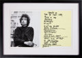 Music Memorabilia:Autographs and Signed Items, Bob Dylan Handwritten Set List Display....