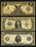 Large Size:Group Lots, Fr. 236 $1 1899 Silver Certificate VG. Fr. 237 $1 1923 Silver Certificate VG. Fr. 851a $5 1914 Federal Reserve Note Fine.. ... (Total: 3 notes)
