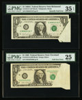 Error Notes:Attached Tabs, Fr. 1913-D $1 1985 Federal Reserve Note. PMG Very Fine 25.. Fr.1915-E $1 1988A Federal Reserve Note. PMG Choice Very Fine 35 ...(Total: 2 notes)