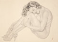 Pin-up and Glamour Art, AMERICAN ARTIST (20th Century). Copy of Vargas' Legacy Nude #8:Nice and Easy, preliminary drawing, 1953. Pencil on pape...