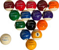 Miscellaneous Collectibles:General, Willie Mosconi Single Signed Pool Balls Lot of 16....