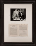 Music Memorabilia:Autographs and Signed Items, Elvis Presley Signed 1956 Movie Contract....