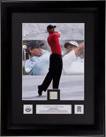 Golf Collectibles:Miscellaneous, Tiger Woods Tournament Worn Polo Swatch Upper Deck PhotographDisplay....