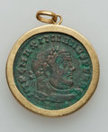 Ancients:Ancient Lots  , Ancients: COIN JEWELRY. Maximianus (first reign, AD 286-305). Æfollis in 18k gold bezel, looped for suspension (total weight:16.07 gm)...