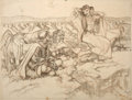 Mainstream Illustration, DEAN CORNWELL (American, 1892-1960). The Big Fisherman,preliminary study. Charcoal and crayon on paper. 33 x 45 in..No...