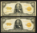 Large Size:Gold Certificates, Two Fr. 1200 $50 1922 Gold Certificates Fine.. ... (Total: 2 notes)