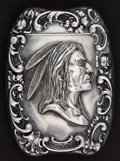 Silver Smalls:Match Safes, AN AMERICAN SILVER INDIAN HEAD MATCH SAFE . Unknown maker,American, circa 1890. Marks: STERLING. 2-1/4 inches high(5.7...