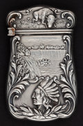 Silver Smalls:Match Safes, AN AMERICAN SILVER AND SILVER GILT INDIAN HEAD MATCH SAFE . Unknownmaker, American, circa 1900. Marks: STERLING. 2-1/4 ...