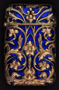 Silver & Vertu:Smalls & Jewelry, A GEORGES LE SACHÉ TIFFANY GOLD AND ENAMEL MATCH SAFE . Georges le Saché, Paris, France, circa 1900. Marks: LS within di...