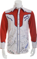 Music Memorabilia:Autographs and Signed Items, Elvis Presley's Celebrity-Signed Custom Western Shirt....