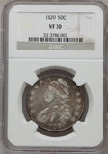 Bust Half Dollars: , 1829 50C Small Letters VF30 NGC. NGC Census: (17/935). PCGSPopulation (48/1129). Mintage: 3,712,156. Numismedia Wsl. Price...