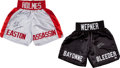 Boxing Collectibles:Autographs, Chuck Wepner and Larry Holmes Signed Trunks Lot of 2....