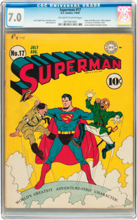 Superman #17 (DC, 1942) CGC FN/VF 7.0 Off-white to white pages