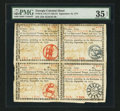 Colonial Notes:Georgia, Georgia September 10, 1777 Uncut Block of Four PMG Choice Very Fine 35 Net.. ...