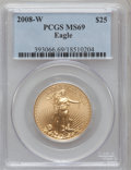 Modern Bullion Coins, 2008-W $25 Gold Eagle MS69 PCGS. PCGS Population (1229/1034). NGCCensus: (0/0). (#393066)...
