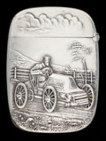 Silver Smalls:Cigarette Cases, AN AMERICAN SILVER MATCH SAFE . Unknown maker, American, circa1900. Marks: STERLING. 2-1/8 inches high (5.4 cm). 1.00 t...