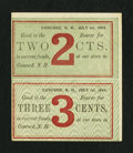 Obsoletes By State:New Hampshire, Concord, NH- Unknown Merchant's Scrip 2¢-3¢ July 1, 1864 Uncut Vertical Pair. ...