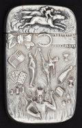 Silver Smalls:Match Safes, AN AMERICAN SILVER MATCH SAFE . Maker unknown, American, circa1900. Marks: STERLING . 2-3/8 inches high (6.0 cm). 1 tr...