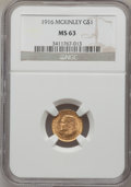 Commemorative Gold: , 1916 G$1 McKinley MS63 NGC. NGC Census: (350/1572). PCGS Population(760/2898). Mintage: 9,977. Numismedia Wsl. Price for p...