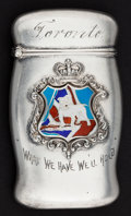 Silver Smalls:Match Safes, A RODEN SILVER AND ENAMEL MATCH SAFE . Roden Bros. Ltd., Toronto,Ontario, Canada, circa 1900. Marks: (lion passant-R-925),...