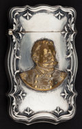 Silver Smalls:Match Safes, A BATTIN SILVER AND BRASS MATCH SAFE WITH PORTRAIT OF GENERAL DEWEY. Battin & Co., Newark, New Jersey, circa 1900 . Marks: ...