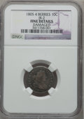 Early Dimes, 1805 10C 4 Berries -- Damaged -- NGC Details. Fine. JR-2. NGCCensus: (11/208). PCGS Population (22/259). Mintage: 120,780....