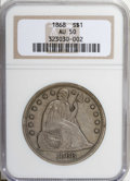 Seated Dollars: , 1868 $1 AU50 NGC. NGC Census: (5/43). PCGS Population (20/47). Mintage: 162,100. Numismedia Wsl. Price: $725. (#6961)...